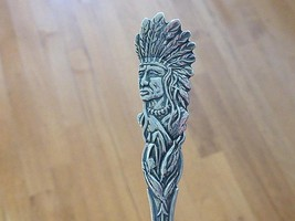 Old INDIAN Chief in Corn Sterling Silver Souvenir Spoon Native American - $39.99