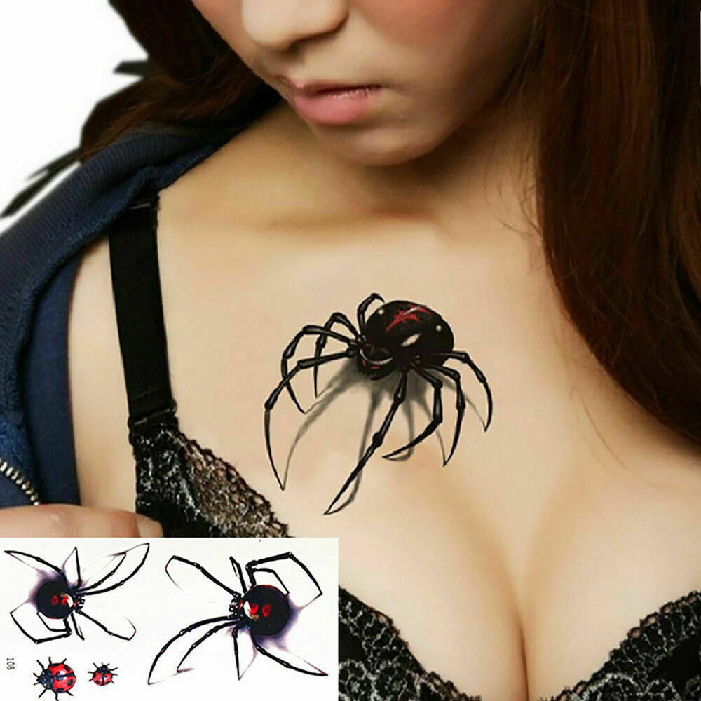 Black Spider 3d Waterproof Temporary Tattoo Stickers - One Sheet