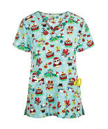 V-Neck Stretch Microfiber Christmas Scrub Top, Christmas Owls Santa Clau... - $11.39