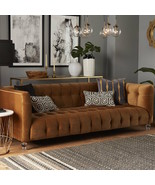 NEW Tufted Mid Century ModernRegency Glam Luxe Chesterfield Velvet Sofa - $1,385.01