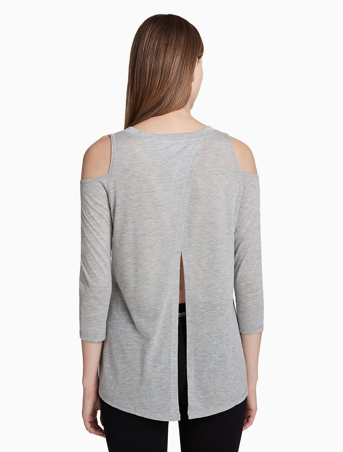 Calvin Klein Performance Cold-Shoulder Tie-Back Top PF8T2828 Grey Citrus Yellow image 2