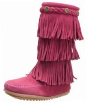 Minnetonka 3 Layer Fringe Boot (Toddler/Little Kid/Big Kid),Bright Pink,... - £35.76 GBP