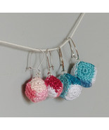Crochet Multi-Color Cube Earrings / Cube Drops / Handmade Cube Earrings - $11.00