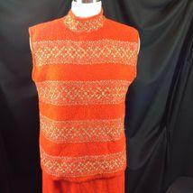 Vtg St John Knits Wiggle Groovy Hostess Sweater Dress Orange Gold Metallic M image 11