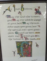 AN IRISH BLESSING CELTIC CALLIGRAPHY ART WALL PLAQUE SIGNED by ARTIST 1984 - $9.49