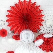 Flower Paper Pinwheel Rosettes Fans Holiday Backdrop Party Craft Kit New... - $18.69