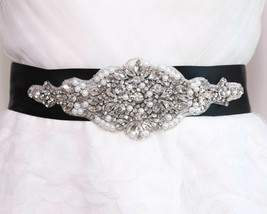 Bridal Crystal Pearl Applique Black (Other) Ribbon Sash Wedding Belt - $24.99