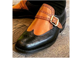 Handmade Leather Wing Tip Brogue Shoes, Men's Black Tan Monk Strap Stylish Shoes - $144.99+