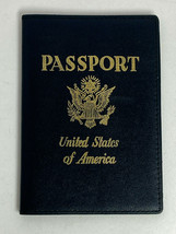 Navy Blue Leather United States of America PassPort Holder Case With Gol... - $16.80