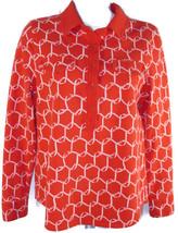 Talbots Pique Polo Shirt Size MP Womens Petite Orange White Equestrian Buckle - $19.35