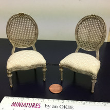 Artisan Whitledge signed upholster Cane Chair in Miniature Dollhouse Sca... - $279.99
