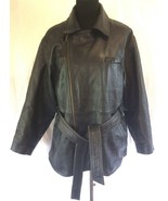 Womens L Siena Studio Black Moto Biker Leather Zip Jacket Motorcycle Sty... - $143.98