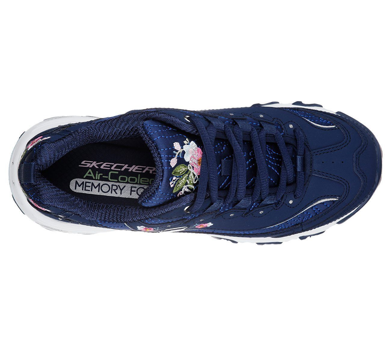 11977 Navy Dlites Skechers Shoes Women Sporty Casual Comfort Memory Foam Floral