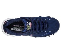 11977 Navy Dlites Skechers Shoes Women Sporty Casual Comfort Memory Foam Floral image 5