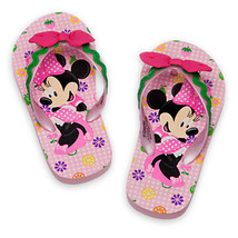 Disney Store Girls Minnie Mouse Clubhouse Flip Flops Sandals Pink - $11.50