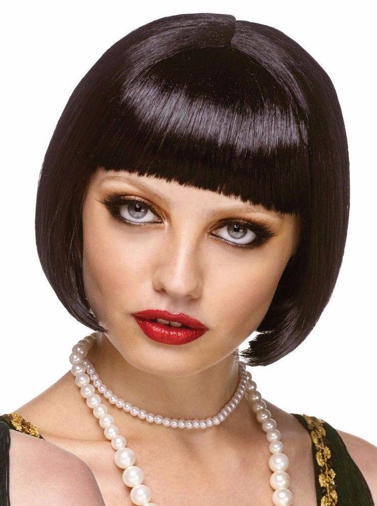 Wig Flapper Black Bob Girl Costume Wig Adult Roaring 20s Halloween Fancy Dress