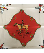vintage horse hound dogs fox hunt print scarf head covering neck scarve ... - $19.75