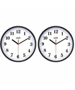 2 Pack Silent Non Ticking Quartz Wall Clock by Hippih, Battery 10 Inch -... - $21.77