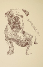 English Bulldog Dog Art Kline Print #185 Your Dogs Name Added Free. Great Gift - $49.95