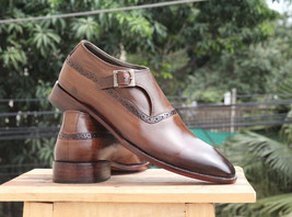 Handmade Men's Brown Monk Strap Leather Shoes image 3