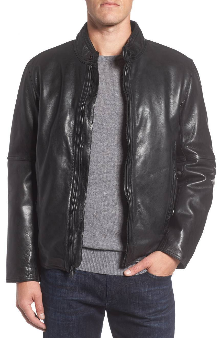 Vintage Black Leather Men's Genuine Soft Lambskin Jacket Slim fit Biker jacket
