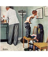Before The Shot by Norman Rockwell Littl Boy Doctors Office Open Edition... - $48.51