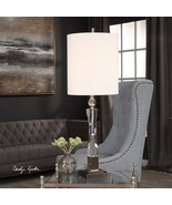 "MODERN 38"" THICK TWIST CRYSTAL COLUMN TABLE LAMP  BRUSHED NICKEL METAL - $349.80"