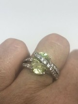Vintage Genuine Citrine CZ 925 Sterling Silver Deco Ring - $64.35