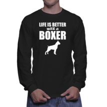 Life Is Better With A Boxer Dog Silhouette Long Sleeve T-Shirt - $24.99