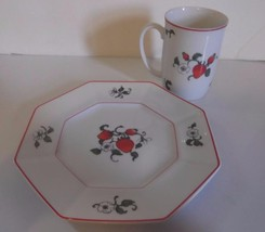 Fitz and Floyd Fraise de Bois Mug & Salad Plate Strawberries EUC - $15.88