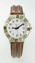 Fossil Watch Mens Stainless Silver Gold Brown Leather 24hr White Date Qu... - $35.13