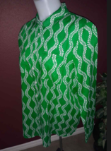 TALBOTS Green White Leaf Vine Button Down Long Sleeve Cotton Shirt Petit... - $7.71