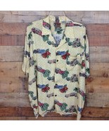 PINEAPPLE CONNECTION Mens Hawaiian Camp Shirt Woody Cars SS  Surf Tropic... - $27.61