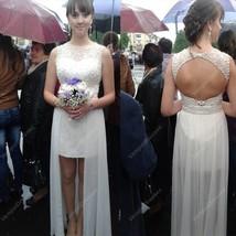 Sleeveless Short White Chiffon Overlay Wedding Dress With Keyhole Back - $220.00