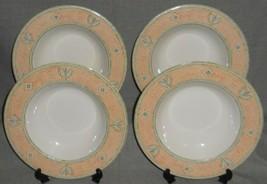Set (4) PTS International TIVOLI PEACH PATTERN Rimmed Soup Bowls - $31.67
