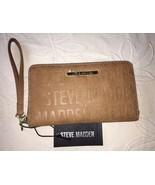 Steve Madden Wallet Camel Stamped Logo Gold Zipper Organizer Wristlet Sh... - $35.99