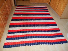 Old Vtg Amish handmade Red White & Blue AFGHAN Bedspread Blanket Throw 1... - ₹7,039.63 INR