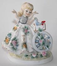 Vintage Lefton China KW1700C Girl with Blue Bird on Mailbox Figurine  #1593 - $25.00