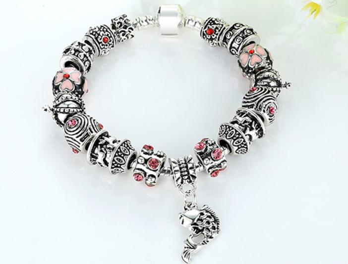 925 Silver Fish Charm Bracelet