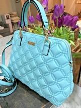 Kate Spade Astor Ct Small Rachelle Quilt Convertible Satchel Blue Hydran... - $119.99