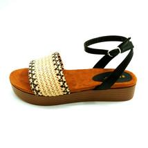 Bamboo Womans Gigi 08 Woven Ankle Strap Platform Sandal Black & Tan Sz 8... - $17.80