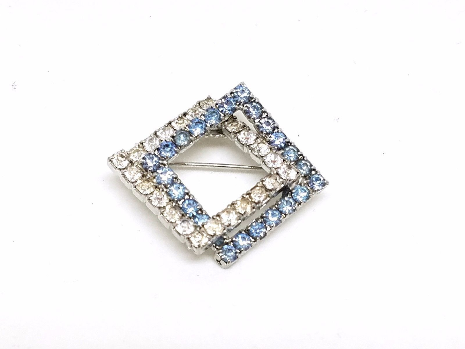 Double Square Blue and Clear Rhinestone Vintage Pin
