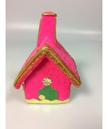 Flocked Christmas ornament church house Christmas collectible - $16.91