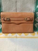 Rebecca Minkoff Womens Peach Leather Gold Tone Buckle Envelope Clutch Handbag - $38.70