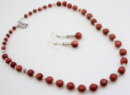 Sunstone Beaded Necklace Jewelry 51 Gr. f-25 - $5.93