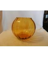 "Vintage Amber Glass Bowl With scallop Edges Rib Design 7"" Tall 7.5"" Diam... - $59.40"
