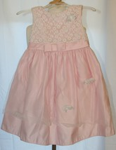 LAURA ASHLEY Fancy Formal Pink Dress Tulle Overlay White Flowers 18 months - $19.79