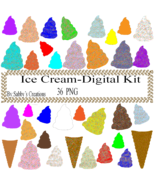 Ice Cream Digital Kit 1-Digtial-Food-Art ClipJewelry-T shirt-Scrapbook-gift card - $4.99