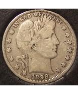 1898 Barber Silver Half Dollar FINE #0653 - $44.99