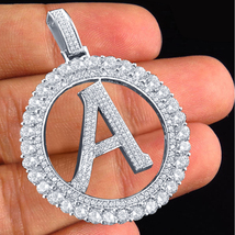 """Alphabet """"A"""" Letter Pendant Round Cut CZ Solid 925 Silver 14k White Gold Plated - $144.90"""